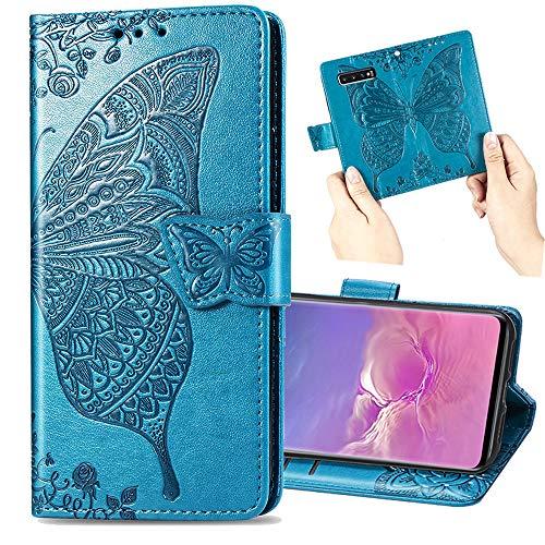 Nadoli Leder Hülle für Galaxy S9 Plus,Retro Schmetterling Blumen Muster Kunstleder Trageschlaufe Ständer Flip Brieftasche Handyhülle Schutzhülle für Samsung Galaxy S9 Plus,Blau