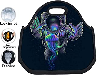 ENPENGOOD Jellyfish Space Astronaut Tin Foil Lunch Bag Waterproof Bento Tote Boxes Insulated Snack Handbags