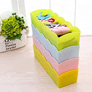 Go Hooked Underwear Innerwear Socks Undergarments Storage Drawer Organiser (Set of 4, Multicolor)