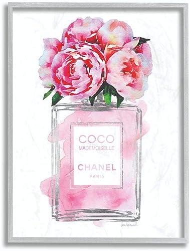 Stupell Industries Glam Perfume Bottle V2 Flower Silver Pink Peony Grey Framed Wall Art, 16 x 20, Design by Artist Am...