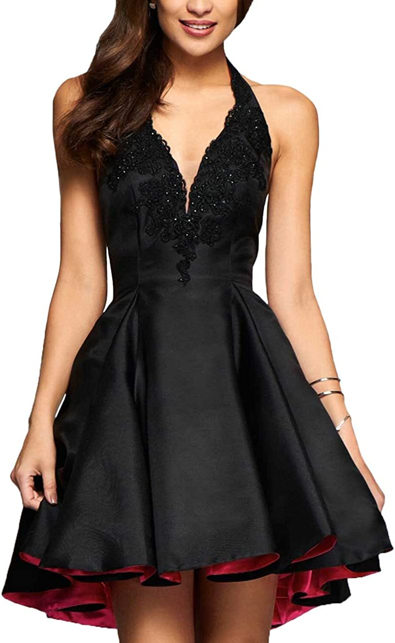 Yilis Halter Short Satin Homecoming H Special Campaign Lace Applique Dress Discount mail order A-line