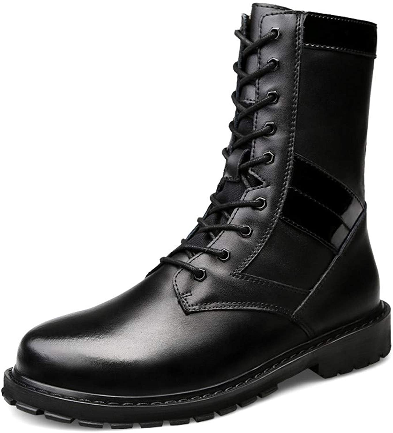 JUJIANFU-shoes Men's Simple Fashion Middle Boots Casual High-top Outsole Imitation Army Boots(Warm Velvet Optional)