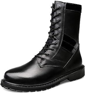 GY-HCJINxdj Mode Moyen Bottes d'homme Insouciant Nouveau Style Haut-Top Outsole Usurpation armée Bottes (Velours Chaud en ...