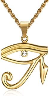 24K Gold Plated CZ Eye of Horus Egyptian Protection Pendant Stainless Steel Necklace, 24 Inch Chain Eye of Providence/All-Seeing-Eye Jewelry