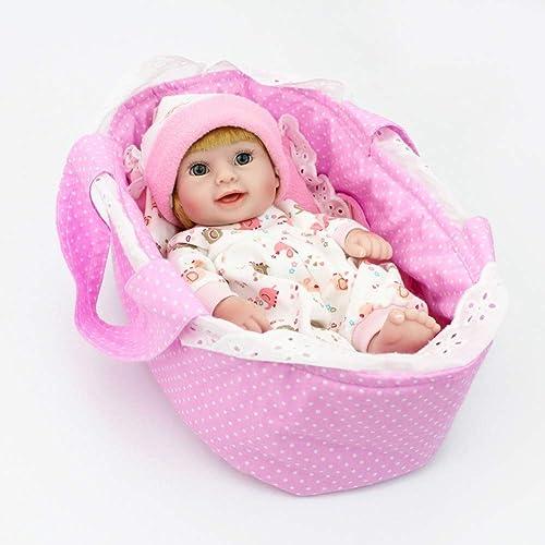 NPKDOLL Reborn Baby-Puppen-Set, lebensechte Simulation, mädchen, 28 cm, G121 Ganz , Weißes Silikon, offene Augen, von Hand gezeichnetes Haar, kann im Wasser Baden, sch s Spielzeug
