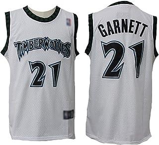 Herren Basketball Trikot-Timberwolves # 21 Kevin Garnett,Fans Jersey Basketball Kleidung T-Shirts,Vintage Stickversion ärmellose Tops,Jungen Sportweste Top-Weiß