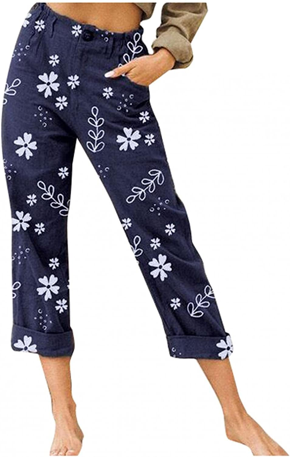 iLOOSKR Women's Summer Flowers Print Capri Pants with Pocket Casual Loose Straight Cropped Trouser Buttons Casua Straight Leg