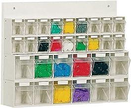 LOCKWEILER Cargador transparente blanco H410xW600xD108mm 18xGr.A 12xGr.B con trasera de madera