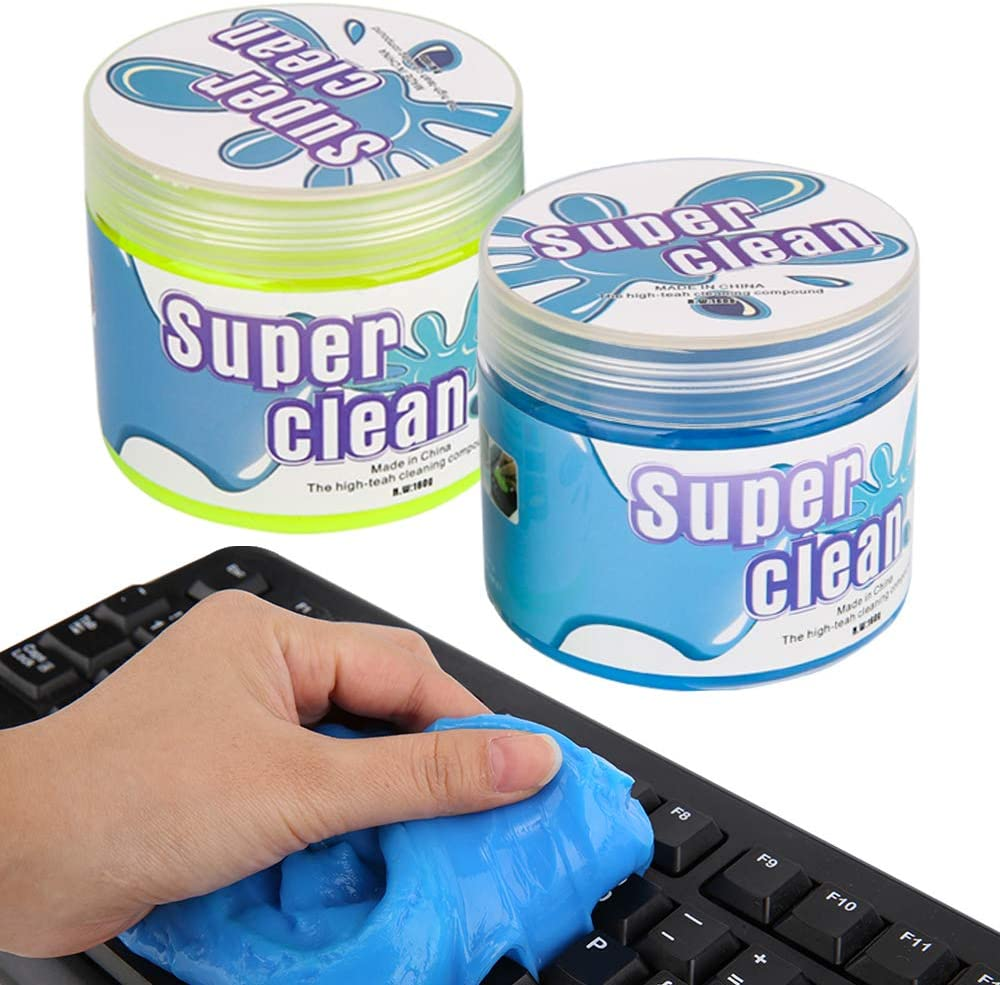 MoKo Keyboard Cleaner (2 Pack, 320g), Universal Cleaning Gel Dust Cleaner Removing Dust, Hair, Crumbs, Dirt from PC Tablet Laptop Keyboard, Calculator, Car Vent, Fan, Toy, Desktop - Blue + Yellow