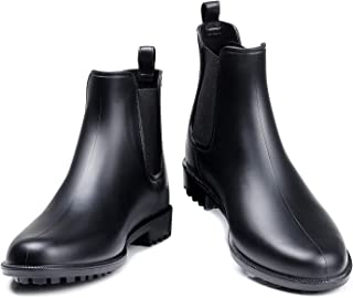 Women's Waterproof Ankle Rain Boots - Black Matte Short Rain Boot Chelsea Boots Elastic Rain Shoes BK39