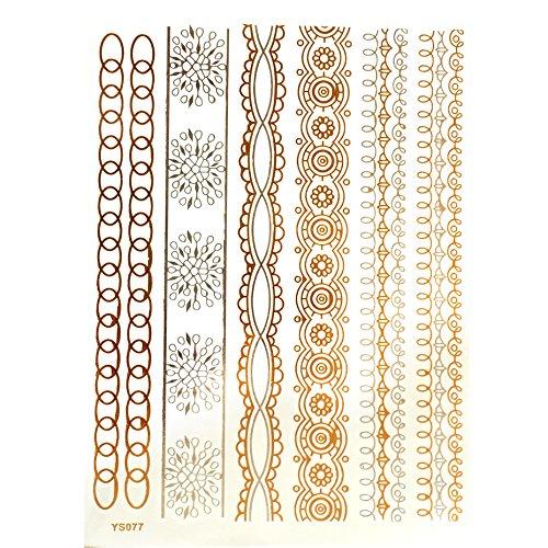 Tatouage temporaire métallisé Miya® - Couleurs : or, argent et noir - Forme 20 - Idéal pour corps, bras ou doigt