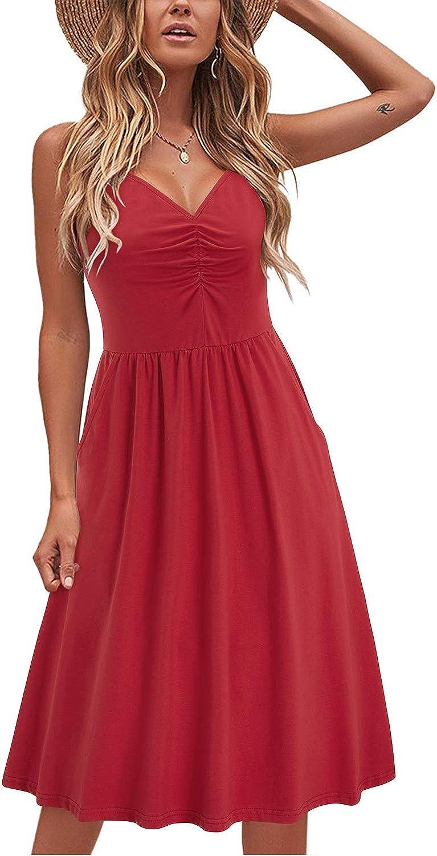 LAISHEN Women's Sundress V Neck Floral Spaghetti Strap Summer Casual Swing Dress with Pocket