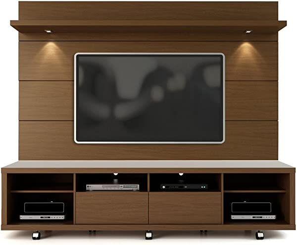 Manhattan Comforts 2 1537282351 MC Cabrini Stand And Floating Wall TV Panel 2 2 85 8Lx17 5Wx73H Nut Brown