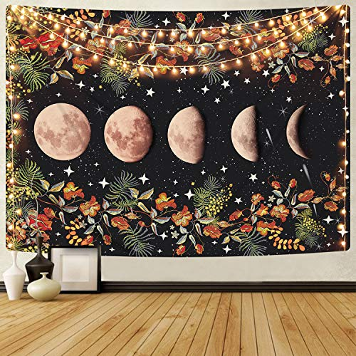 Moonlit Garden Tapestry, Moon Phase Tapestries Flower Vine Tapestry Black Background Floral Tapestry Wall Hanging for Room(51.2 x 59.1 inches)