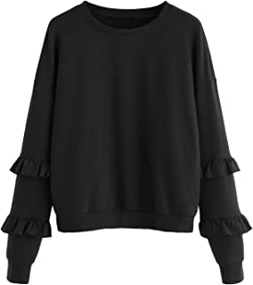 Women's Drop Shoulder Crew Neck Long Sleeve Pullover Sweatshirt