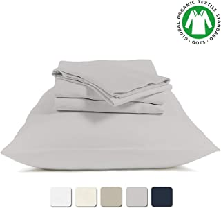 BIOWEAVES 100% Organic Cotton 4 Piece Bed Sheet Set, 300 Thread Count Soft Sateen Weave GOTS Certified with deep Pockets (King, Light Grey)