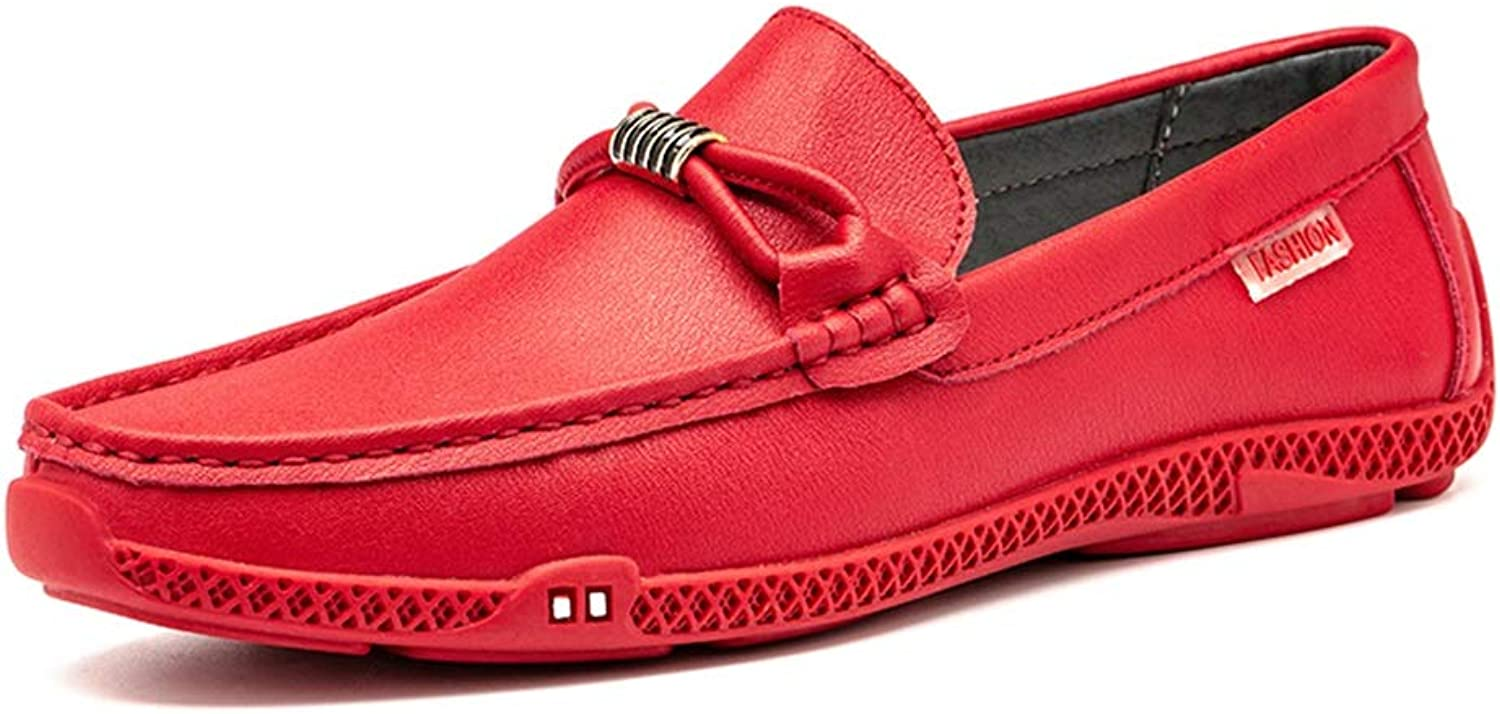 Ino Durable and Fashion Driving Loafer for Men Boat Moccasins Slip On Style PU Leather Metaldecor Classic Solid color Low Top