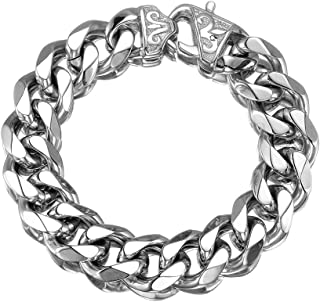 Innovative jewelry 12/15mm Polishing Silver Stainless Steel Curb Cuban Link Chain Necklace Men's Jewelry,16-36""