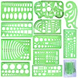 SIQUK 11 Pieces Geometric Drawings Templates Plastic Clear Green Plastic Rulers with 1 Pack Poly Zipper Envelopes for Studying, Designing and Building