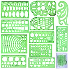 Practical set - package includes 11 pieces clear green plastic geometric drawings templates in different shapes and 1 pack poly zipper envelopes for you to storage, very convenient for daily usages and carry 11pcs drawing templates - 1 * Curve templa...