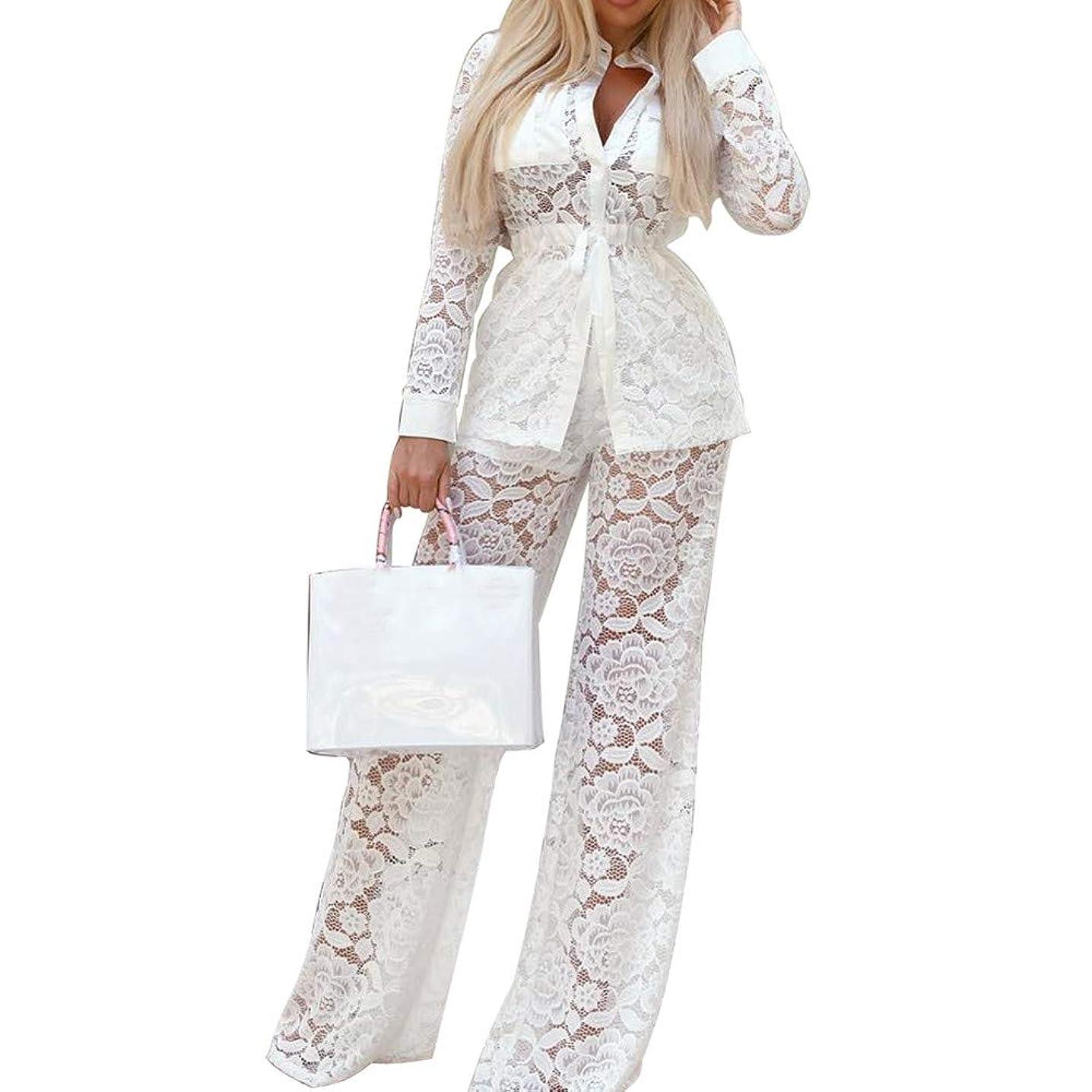 Dreamyth-sets 2Pcs Womens Long Sleeve Lace V-Neck Bandage Top Lace Loose Pants Suit