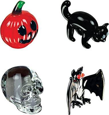 Looking Glass Halloween Figures Miniature Collectible Glass Figurines, Pack of 4