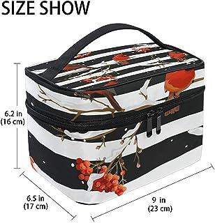 Buy Stylish Modern Minimalist Atmospheric Beautifu Winter Birds With Rowan Berries Large Cosmetic Bag Travel Makeup Organi...