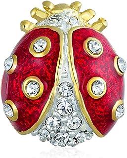 Bling Jewelry Delicato Fortunato Rosso Nero Smalto Cristallo Giardino Giardino Insetto Twin Ladybug Lama Sbirciare Pin per...