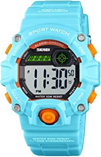 Digital Kids Watches Girls Boys with Alarm Chronograph, Waterproof EL Light Dual Time 12/