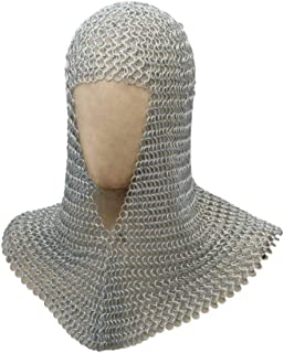 Benzara HGM012 Metal Chain Mail Coif Medieval Armor, Silver