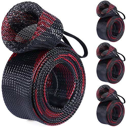 PLUSINNO Fishing Rod Cover, 4 Pack Rod Sleeve Socks, Braided Mesh Rod Protector, Fishing Pole Covers Sleeves with Lanyard for Fly Spinning Casting Rod,Flat End Fishing Gear Tools Accessories