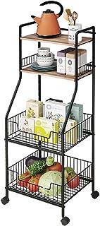 Microondas De piso a la rueda de múltiples capas de cocina Bastidores suministros de cocina de almacenamiento en rack ve...
