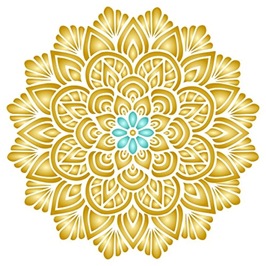 Lotus Mandala Stencil - 6.5 x 6.5 inch (S) - Reusable Asian Indian Mantra Hindu Spiritual Wall Stencil Template - Use on Paper Projects Scrapbook Journal Walls Floors Fabric Furniture Glass Wood etc.