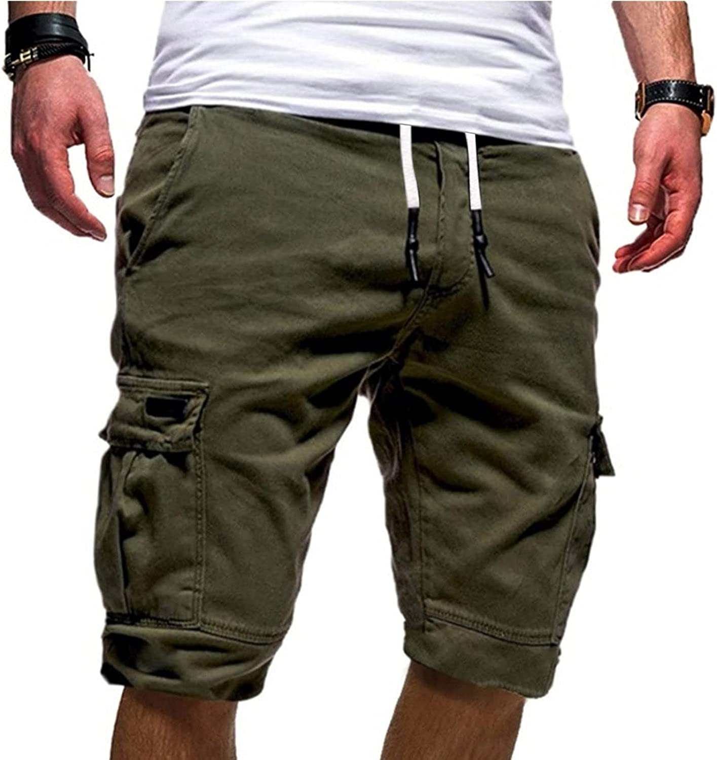Ugood Men's Cargo Shorts Casual Plus Size Multi Pocket Tooling Sports Shorts Five Point Pant Solid Color Cotton Shorts
