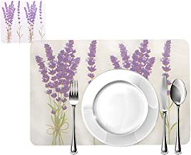 Blue Grass PVC Printed Purple Placemats for Dining Table and Kitchen (45 x 30 cm) Set of 6 Pieces   Hot Vessels Transparent Dining Mat
