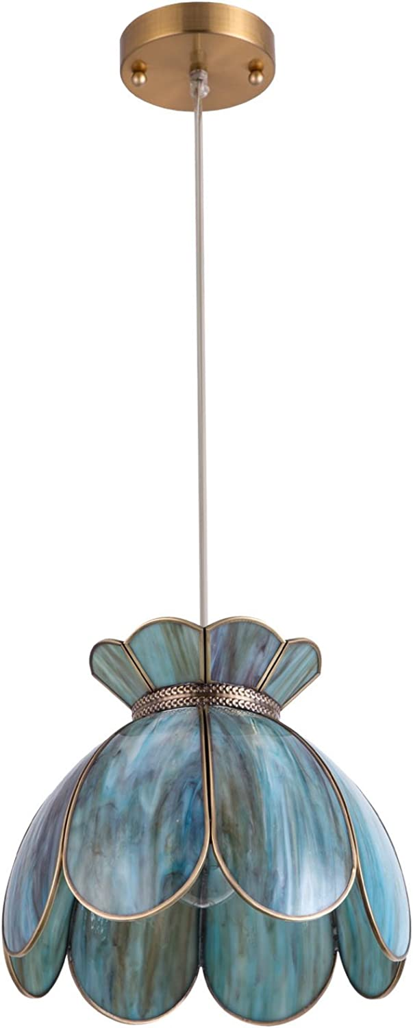 YIFI Pendant Light Brass Vintage Lotus Flower Adjustable Ceiling Pendant Light for Kitchen Island Dining Room Bedroom Living Room, Emerald