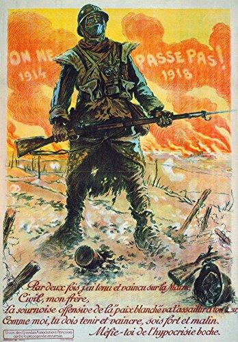 """Poster aus dem 1. Weltkrieg """"NThey Shall Not Pass"""", französisches Poster, 1917, zeigt einen Soldat auf einem Weltkrieg mit einer Gasmaske um den Hals (45,7 x 61 cm)"""