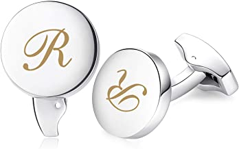 HONEY BEAR Initial Alphabet Letter Cufflinks for Men, Round Shape Stainless Steel Wedding Business Gifts Silver Gold A - Z