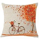 Xshuai Kissenbezug kissenhülle Kissen Set Schöne Herbst Baum Ahorn Fahrrad Kissenbezug Dekor 18x18...