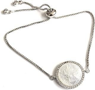 Catholic Bracelet for Women Saint Benedict Silver Plated Medal