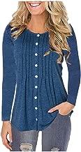 LEKODE Women T-Shirts Fashion Solid Long Sleeve Sweatshirt