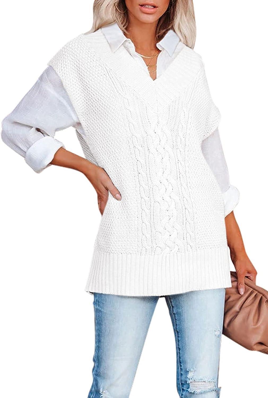 Viottiset Women's Oversized V Neck Knit Sweater Vest Tunic Sleeveless Pullover Top