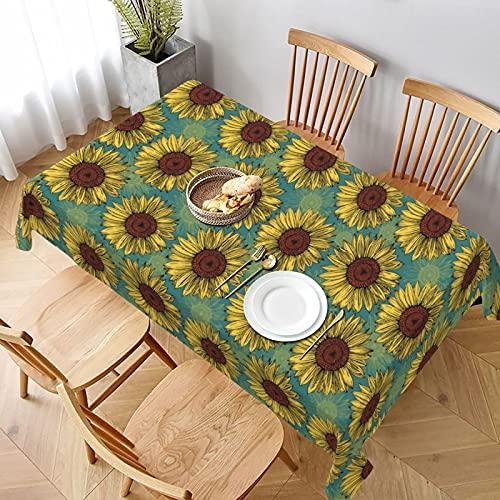 Mantel rectangular amarillo naranja girasol azul menta a prueba de derrames a prueba de agua para interior al aire libre cubierta de mesa 60x90 pulgadas