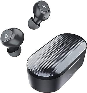 SoundPEATS(サウンドピーツ) TrueFree+ ワイヤレスイヤホン AAC対応 Bluetooth 5.0 完全ワイヤレス イヤホン 35時間再生 Bluetooth イヤホン 自動ペアリング 左右独立型 マイク内蔵 両耳通話 防水 小型 軽量 TWS ブルートゥース ヘッドホン トゥルーワイヤレス ヘッドセット [メーカー1年保証] ブラック