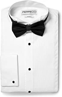 Ferrecci Men's Max White Slim Fit Wing Tip Collar Pleated Tuxedo Shirt with Bowtie