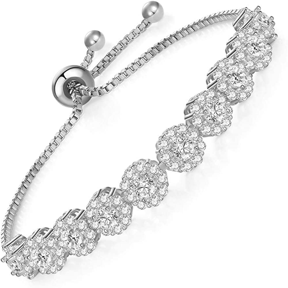 HZX We OFFer at cheap prices JELEY Women's Tennis Adjustable CZ Bracelet AAA + Nashville-Davidson Mall Ro Inlaid