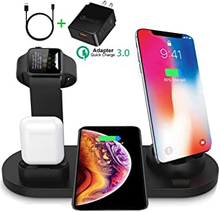 3 in 1 Wireless Charger Compatible Apple Airpods Charger and Apple Watch Stand,Fast Wireless Charging Station for Multiple Devices Compatible with iPhone X/XR/Xs Max/8/7/6/Samsung/Other Smart Phones
