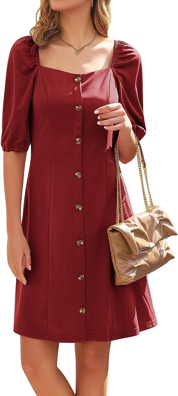 GRACE KARIN Women's Casual Square Neck Button Down A-line Summer Dress