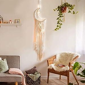 Macrame Woven Wall Hanging Moon Dream Catcher,Bohemian Handmade Room Hanging Tapestry,Wedding Decoration Crafts,Boho Chic Bohemian Home Decor Wall Art Decor,Ornament for Home Decor Gift(Moon)