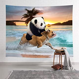 NYMB Funny Animals Tapestry, Hippie Style Cool Panda Ride Pug Dog Running in Beach Tapestries, Tapestry Wall Hanging Art for Bedroom Living Room Dorm Home, 71X60 Inches, Bohemian